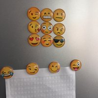 Wholesale 2017 Styles Round Emoji Expression Fridge Magnet Refrigerator Note Stickers Message Holder