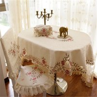 oval tablecloth - Embroidered Tablecloths Towel Cover Fabric Fashion Round Elliptical RectangleTable Cloth Oval Dining Tablecloth Chair Covers Cushion