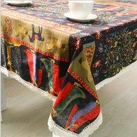 Wholesale Tablecloth Linen Manteles Para Mesa National Wind Red Nappe De table Cloth Table Cover Decoration Fabric Cushion Clothes Textile
