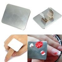 Wholesale Professional Stainless Steel Nail Art Beauty Manicure Palette Cosmetic Makeup Mixing Acrylic Paint Palettes Ring Spatula Tools