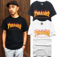 Wholesale Hot Style Thrasher T Shirt Unisex Flame Blaze Thrasher Tee Palace Skateboard Magazine Hip Hop Trasher Street Wear Grey Black White Blue