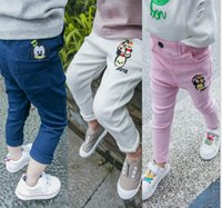 Wholesale 2016 Autumn New Girl Pants Embroidery Pocket Pencil Pants Long Trousers Children Clothes QK8605