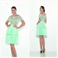 Vestidos de cóctel verdes elegantes de la menta del vestido de noche de la gasa de la manga corta Vestidos del partido del dulce 16 de la longitud de la rodilla del cordón del cordón de los vestidos del desfile