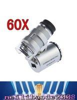 2016 Microscopios joyería caliente 60X del joyero del microscopio lupa de 60 x Mini lupas Lupas de bolsillo con MYY bolsa de cuero de luz LED +