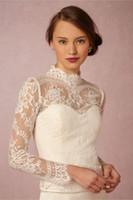 Wholesale High Neck Bridal Wraps Long Sleeve Wedding Lace Applique Jackets Cheap Bridal Jacket Bolero Jacket Plus Size