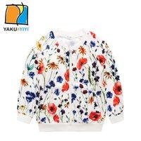 Wholesale Floral Print Girls Sweatshirt Long Sleeves Zipper Fly Trench Coats Casual Preppy Style Kids Wear YAKUYIYI