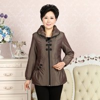 Women's spring coats - New Spring Autumn Cotton Mother Jacket Middle Aged Women s Long Sleeve Coat Zippers Slim Plus Size Clothes Mother Gift
