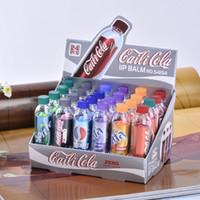 Wholesale 24pcs Fashion Change Color Cola sweet cute Moisturizer Faint scent Lip Balm Lipstick Brand Makeup