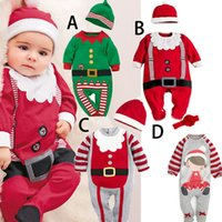 Wholesale Lycra Jumpsuit Costume - Baby rompers One-piece Costumes 2pcs Romper+hat baby Christmas gift kids Santa Claus clothes newborn baby clothes jumpsuit wear