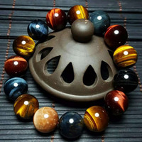 beeds bracelet - AAAAAA natural colorful Tiger Eye crystals bracelet big beeds for women and men couples lovers girlfriend lucky Buddha jewerly gift