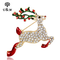 Wholesale 2016 Christmas Day brooch European style animal sika deer high quality alloy man made diamond with pearl brooch for festival