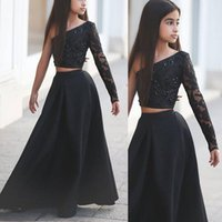 Wholesale 2016 Custom Pageant Dresses for Teens Cute Beaded Lace Applique Sheer Long Sleeve Black A Line Two Pieces Girls Party Gowns Fast Shipping