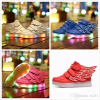 athletic dance shoes - 2016 color Led children s shoes Kids Boys Girls LED Light Up Sneakers Athletic Wings High Shoe Dance Boot