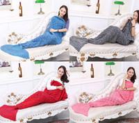 Wholesale Mermaid Tail Blankets Soft Hand Crocheted Cartoon Sofa Blanket Air Condition Blanket Sleeping Bags Siesta Blanket X90cm