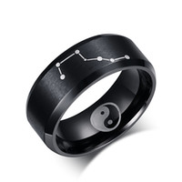 ba gua - Black Color Rings for Men Jewelry Stainless Steel Chinese Ba Gua Elements Rings Big Dipper Ring Jewelry