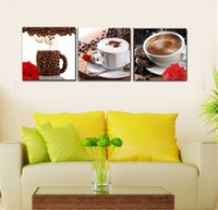 Cheap Hot Sale 3 Panel Abstract Printed Coffee Life Wall Painting Canvas Art Picture Home Kitchen Coffee Shop Decor Paintings Unframed