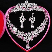 beautiful necklace images - Hot sale Bridal dresses tiaras Crystal Earbob Wedding Tiaras Crystal Necklace full set Exquisite packaging Actual Images Beautiful