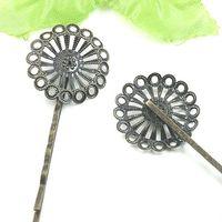 100pcs gros Antique Bronze15mm ronde Filigrane en forme de fleur Bezel Réglage Plateau Barrette Barrette Constatations Hairpin Blank