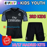 Wholesale 2016 Real Madrid kids Home White Away Purple RD Black Soccer Jerseys Boys camiseta RONALDO kits JAMES KROOS BALE football shirts