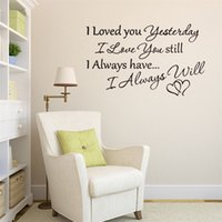Wholesale 57x34cm English Motto Love Quote I Love You Wall Stickers Peel and Stick Removable Art Mural Wall Decal Kids Room Bedroom Decor