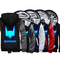 batman hoodie jacket - New Winter Jackets and Coats BATMAN hoodie Anime Luminous Hooded Thick Zipper Men cardigan Sweatshirts styles Hot Sale