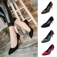 lady leisure shoes - High Sell Like Hot Cakes With The New Skin Fine With High Heels Shallow Mouth Pointed Ladies Fashion Leisure Shoes