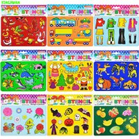 Wholesale 5 packs Medium Plastic Stencils for Kids Drawing Templates Board for painting Toys for Kids Halloween Wild Farm Animals