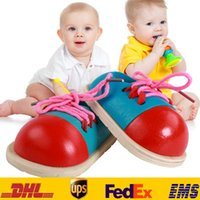 Wholesale Baby Intelligence Toys Children Newborn Toddler Wooden Shoelaces Early Educational Learn Montessori Teaching Puzzle Toys XMAS Gifts HH T24