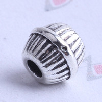 Wholesale mini streak round Spacer bead charm mm antique silver bronze Zinc Alloy for DIY pendant Jewelry Making Accessories