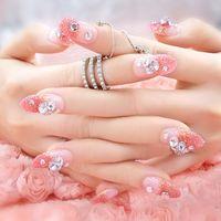 Wholesale The finished Manicure box of fake nails Pink Jewel box Manicure bride patch E2