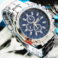 Wholesale top logo brand qurtz Movement Stainless Steel new Men Watches Blue Dial Clasp watch