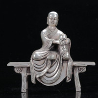 antique carved chairs - Chinese Tibet Silver Hand Carved The Three Eyes Monk Sat On Chair Statue C533