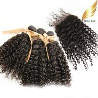 Malaysian Hair Curly malysian virgin hair Hair Closure With Bundle Hair Kinky Curly Hair Extensions Virgin Malaysian Hair Top Closures(4x4) Natural Color Bellahair Hair Wefts&Weaves