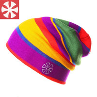 Wholesale New Colorful Hip Hop Stripe Wool Hat Winter Skiing Skating Hat Knitting Beanie Women and Men Beanie for Outdoor