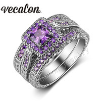 antique princess cut diamond ring - Vecalon Antique ring Princess cut Amethyst Simulated diamond KT White Gold Filled in Wedding band Ring Set for Women Gift