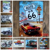 Wholesale route us main street of america vintage Coffee Shop Bar Restaurant Wall Art decoration Bar Metal Paintings x30cm tin sign