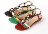 Wholesale Fashion Genuine Leather Sandals Bead Party Wedge High Heel Dress Lady Women Shoes Sz