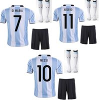 Wholesale 2016 Argentina home soccer jersey the full set soccer jersey with socks messi kun aguero maria football jersey