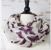 Wholesale 2016 New Butterflies Print Infinity Scarves Fashion Women Loop Scarf Spring Autumn Voile Scarf Girls Best Gift
