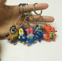 Wholesale Zootopia D figures keychain ring toys set Rabbit Judy Hopps Nick Fox pendant accessories mixed design