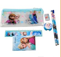 Wholesale Frozen stationery set Students Office School Supplies Frozen Cases Bag book pencils Ruler eraser sharpener bag
