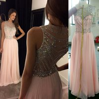 Wholesale Pink Dresses Long Prom Dressess A Line Jewel Sweep Train Sequins Beaded Sheer Neck Evening Gowns Party Dresses Evening W6501