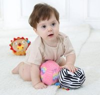 Wholesale 6pcs Cartoon animals Baby plush Ball Educational toys colorful soft Rattle Mobile ring bell Soft practice