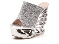 alien heels - Style Sequins hollow out of carve patterns or designs on woodwork alien wedge bottom thick thick high heeled gold silver The female sandals