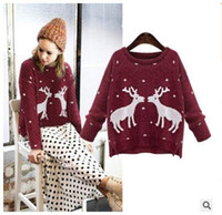 Wholesale DHL autumn winter Sweaters women new Christmas reindeer sweater women two deer sweater jacket coat New year Gifts hot