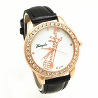 battery instruments - PVC leather belt gold plate alloy case rhinestone circle case music instrument UP dial gerryda fashion woman lady quartz watch
