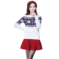 christmas jumpers - New Winter Women Sweaters And Pullovers Long Sleeve Couple Christmas Sweater Snowflake Thick Christmas Jumpers Cashmere Sweater