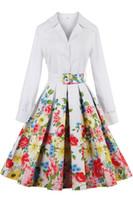 Casual Dresses Flora Printed Dresses Summer Vestidos 2016 Bow Autumn Dresses Elegant Ladies Vintage Dresses Plus Size Ukraine Office Lady White Shirt Long Sleeves Trench Coats FS0492