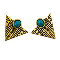 ancient egyptian style - Personality fashion stud earrings alloy triangle hoard of stud earrings earrings ancient Egyptian pyramid style restoring ancient ways