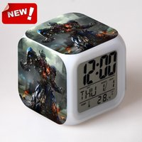 age antiques - Transformers Age of Extinction Alarm Clock Led Light Color Change Lcd Display Reloj Relogio De Mesa Projection Clock Bedside Led Digital